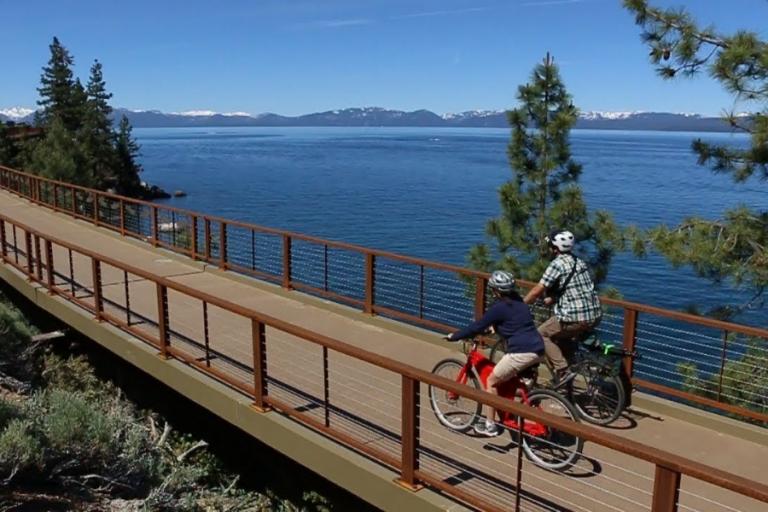 couple biking lake tahoe east shore scenic bike path