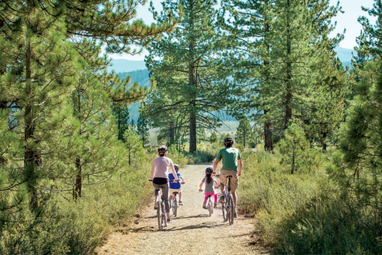 family riding bikes along forest trail in lake tahoe